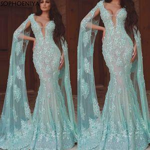 Elegant Robe longue 3D Flowers Luxury Evening Dresses Long Lace Applique Deep V Neck Long dresses evening Robe de soiree