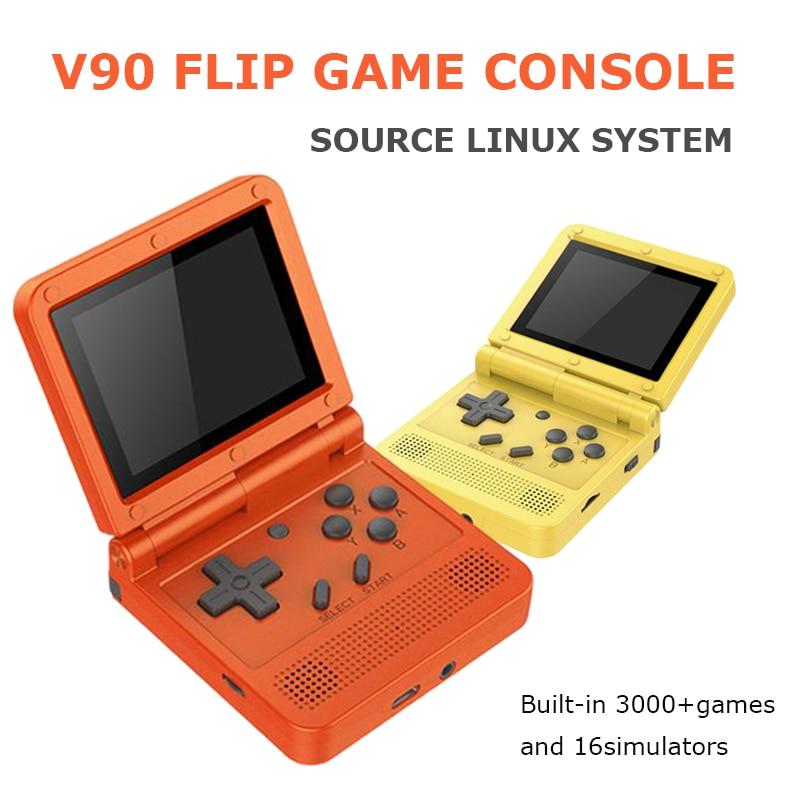 V90 3.0 Polegada IPS Tela Mini Retro Handheld Game Console Para DC/N64/PS1/PSX/GB/Sistema Open Source 16 simuladores 3000 Jogos de GBA