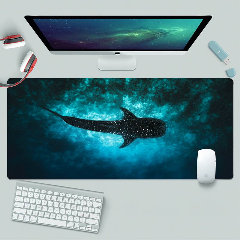 Коврик для игровой мыши Ocean с китами и акулами, резиновый игровой коврик для мыши, большой игровой коврик XL для клавиатуры, настольного ПК, ко...