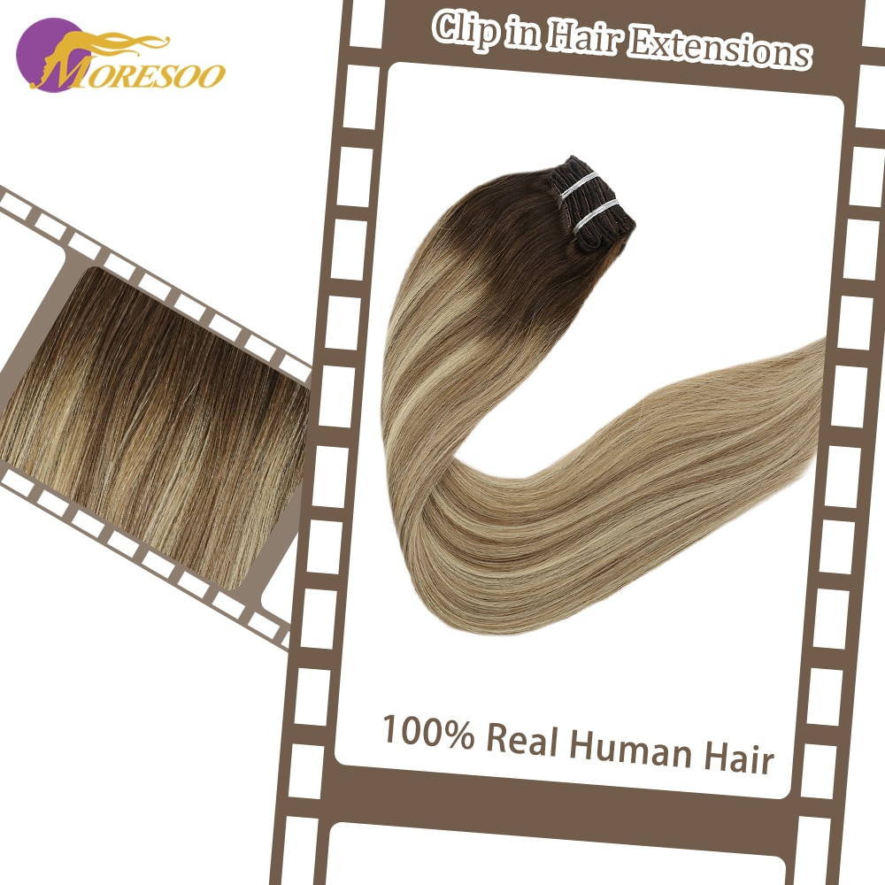 Moresoo Clip en la máquina de extensiones de cabello Remy cabello humano liso brasileño 9 uds/100G Clip Ins 16-24 pulgadas doble trama
