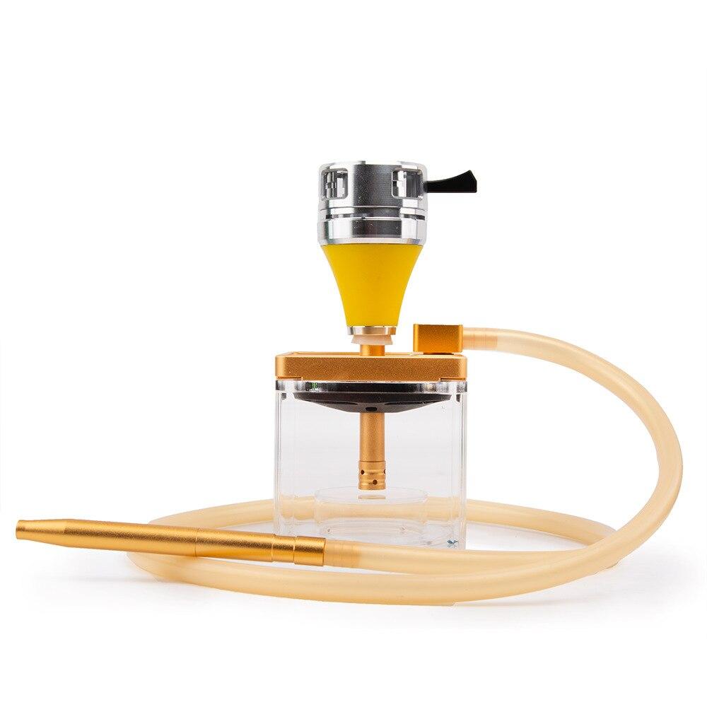Metal Glass narguile Hookah Single Tube Cube Hookah Party with LED Light Hookah Hose Charcoal Clip Hookah Accessories Bar Club enlarge