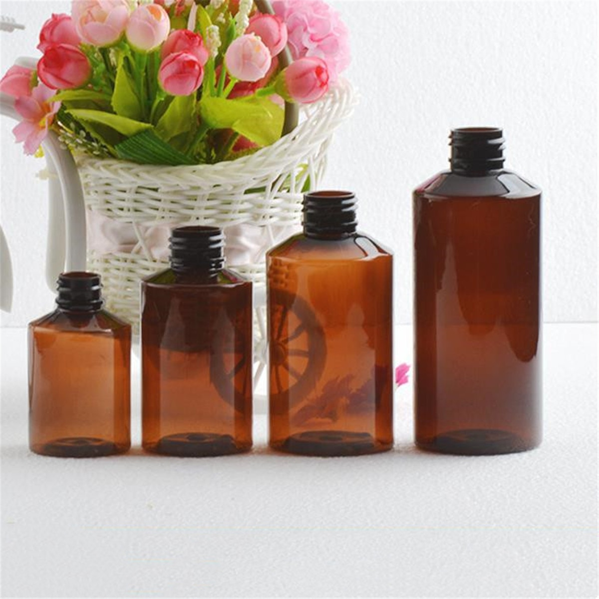 50~150ML Beauty Empty Amber Glass Bottle Essential Oil Mist Spray Container Case
