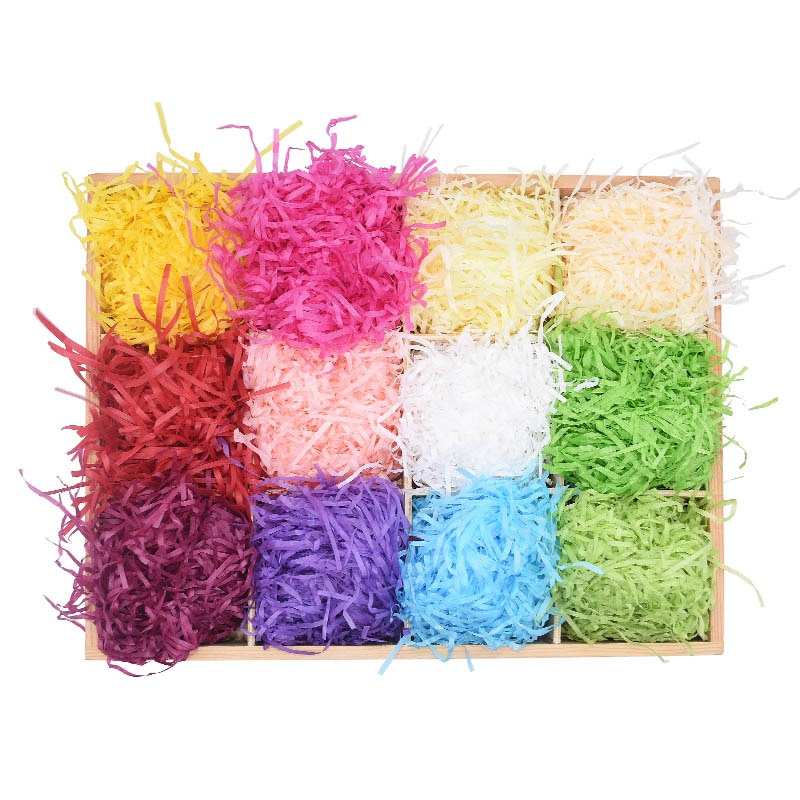 20G/bag Colorful Mini Paper Raffia Diy Candy Color Fluffy Gift Packing Envelope Wedding Flower Box Filler