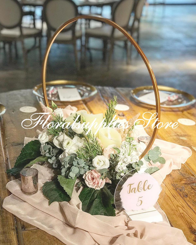 Panier de center de table 10 pièces   Panier Floral de mariage, en métal or, arrangements floraux uniques pour décor de mariage de table