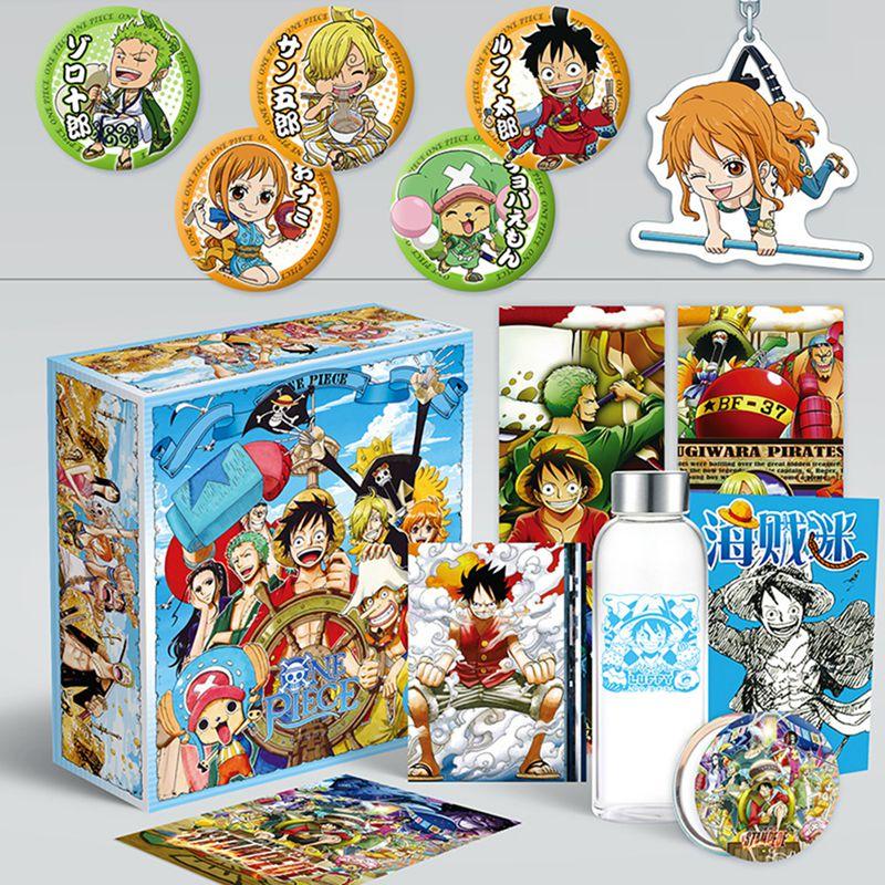 Anime caixa de presente de uma peça naruto toalete-bound hanako-kun kimetsu não yaiba incluído poster licenciamento garrafa bookmark espelho presente