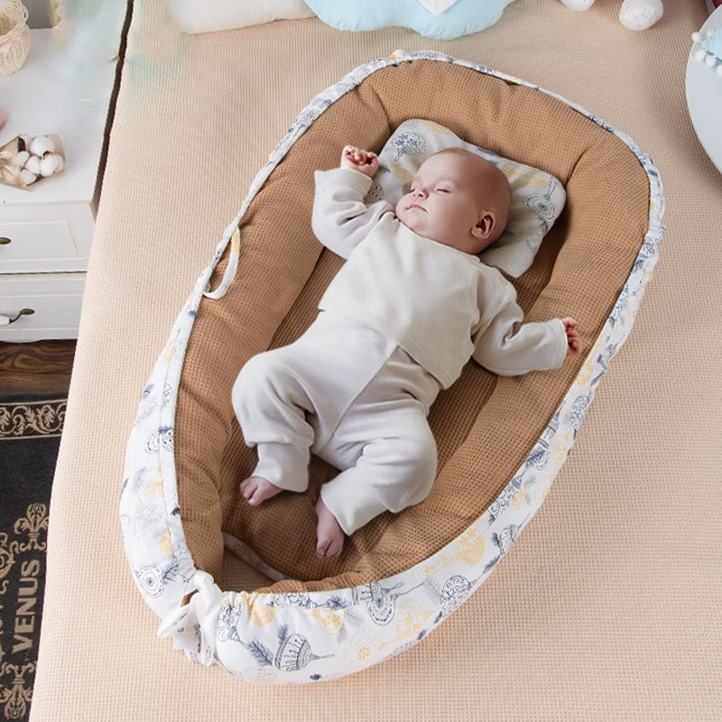 New baby crib bed foldable removable and washable portable anti-pressure bionic full detachable pillow travel 2021