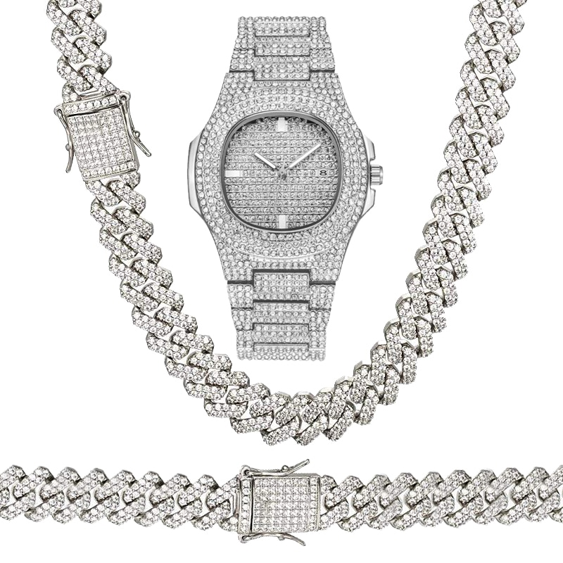 "Hip Hop Iced Techno Pave Watch & 8"" 16"" 18"" 20"" 24"" Cuban Stone Chain Bracelet Necklace Set"