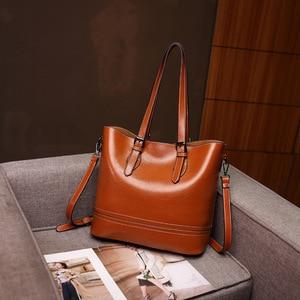 Casual Large Capacity Women Tote Shoulder Bag PU Leather Ladies Bucket Handbag Messenger Bag Soft Shopping Crossbody Bag