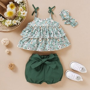 Newly Summer Baby Girl Casual Sleeveless Floral Print Tops Vest With Solid Color Bowknot Design Shorts Headband Outfits Set