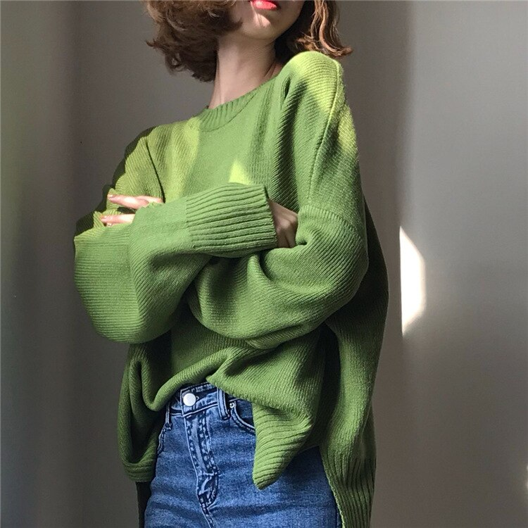 aelorxin 2017 women sweaters and pullovers thick autumn winter casual full sleeve o neck fashion women sweater girls sweaters Women Oversized Knitted Sweater And Pullovers Korean Fashion Style O-Neck Solid Sweaters 2020 Autumn And Winter New Tops
