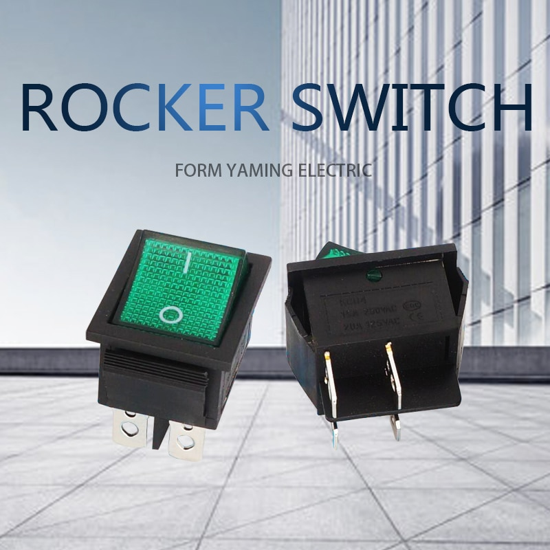 10 unids/lote interruptor basculante KCD4-201 verde cuatro pies 4P cuatro pies 2 posiciones con lámpara 16A 250V 31x25mm