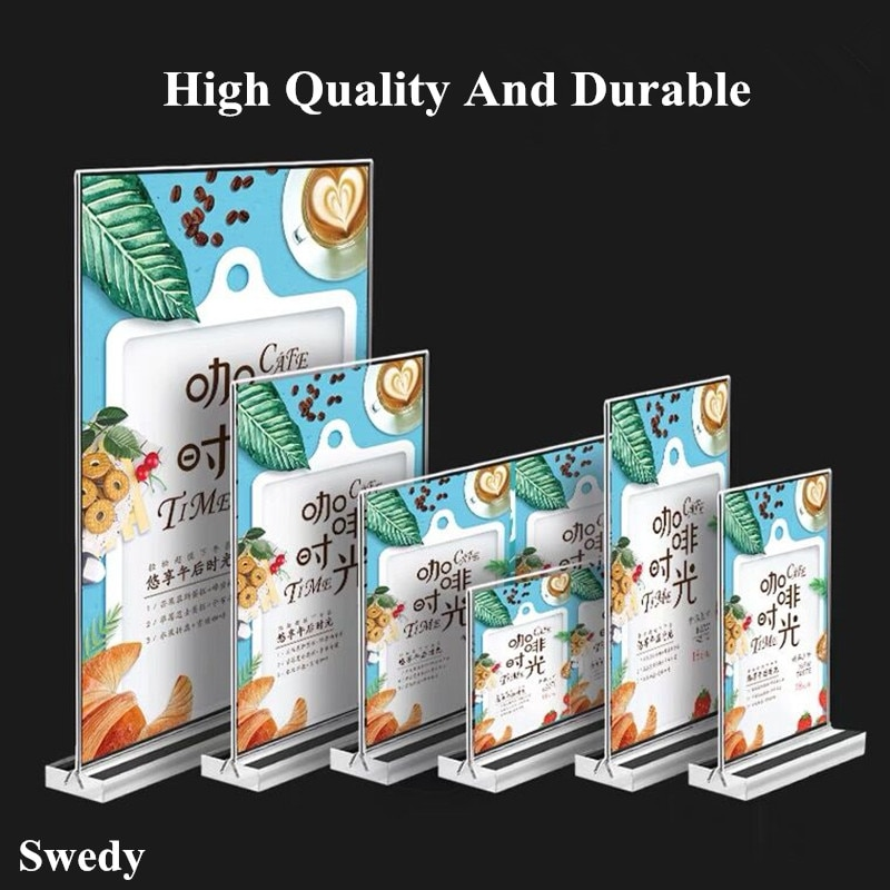 A6 Acrylic Sign Holder Double Sided Retail Price Label Poster Frame Counter Top Poster Information Menu Holder Display Stand clear acrylic 3 tier eyeglass sunglasses glasses display stand table counter top retail show holder
