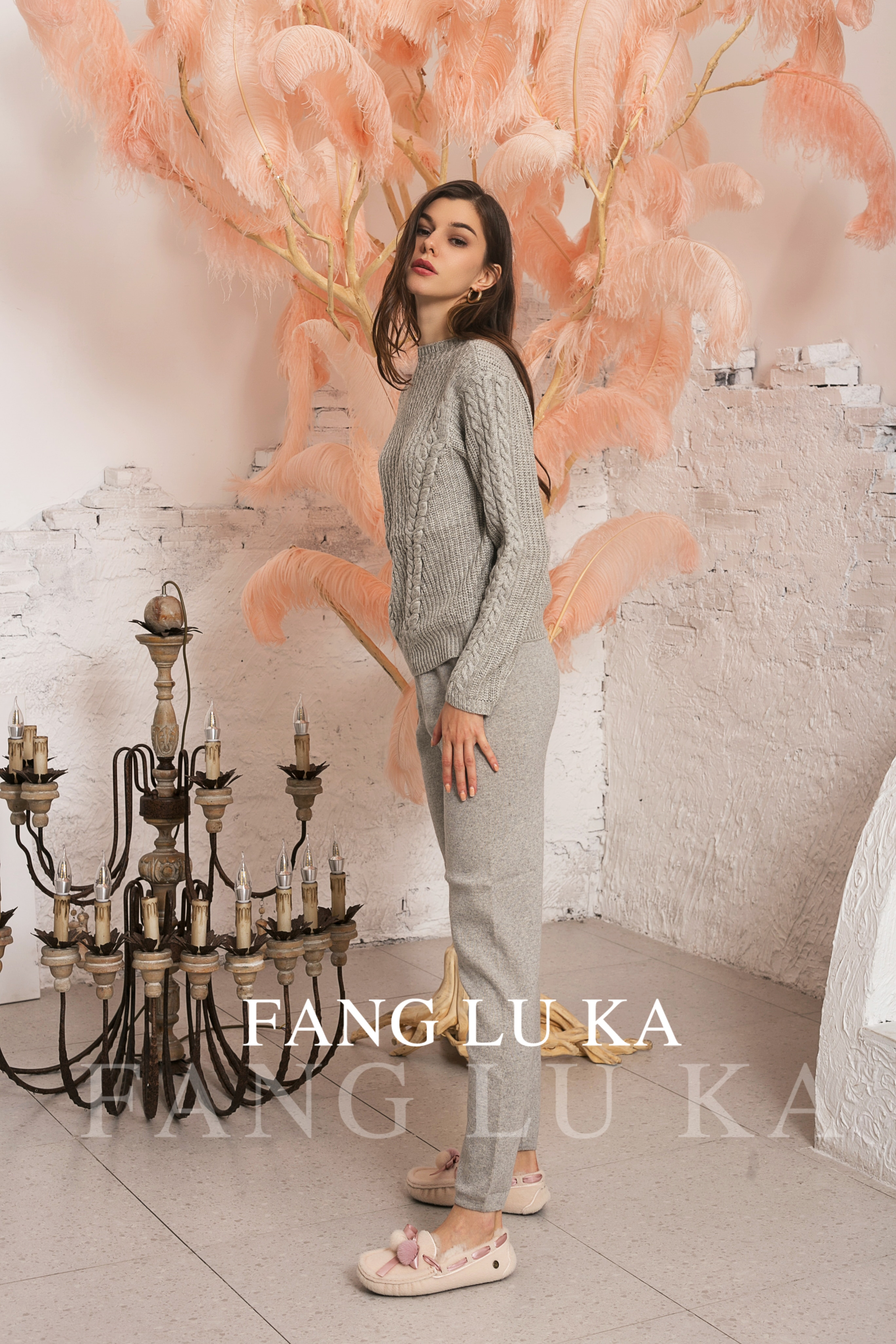 Зимний костюм/Women's Wool And Cashmere Knitted Warm Suit O-Neck Collar Sweater + Cashmere Pants Two-piece Set Knit enlarge