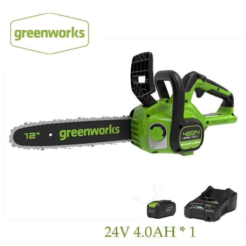 جديد Greenworks 24 فولت/48 فولت سلسلة المنشار اللاسلكي CSG401 المزدوج فولت فرش بالمنشار 12 بوصة دليل بار
