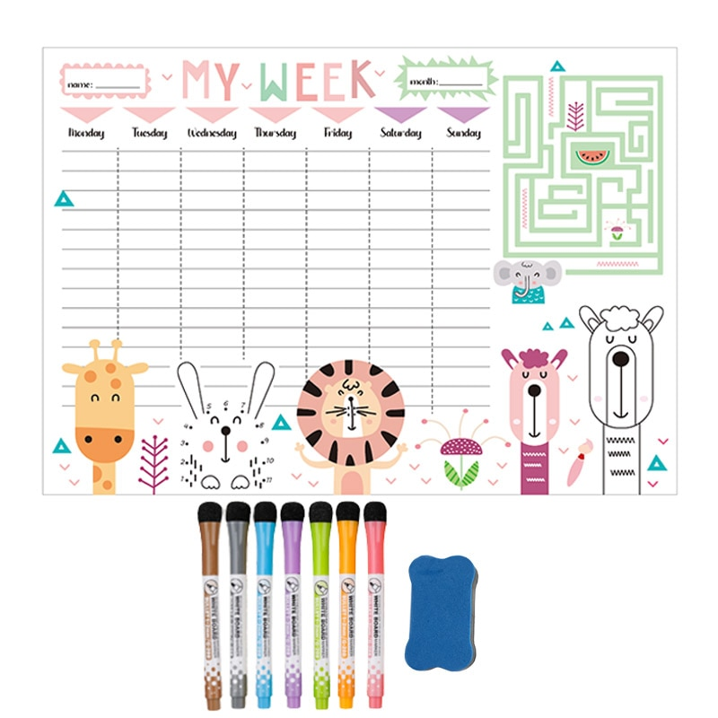 Magnetic Weekly Monthly Planner Calendar Whiteboard Fridge Sticker Message Drawing Dry Erase Sadhu Drawing Sup Board for Notes