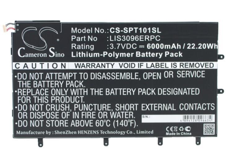 "Cameron sino 6000 мАч батарея для SONY SGP321 SO-03E Xperia Tablet Z 10,1 ""LIS3096ERPC Tablet батарея"