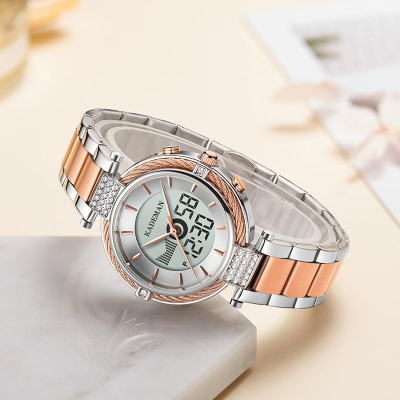KADEMAN New Elegant Quartz And Digital Women Watch LCD Screen Relogio Feminno Luxury Business Style Fashion Waterproof Stainless enlarge