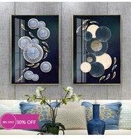 Toile de decoration de noel  affiches de peinture  Figure bleue geometrique  tableau dart mural pour decoration de salon  decoration de maison