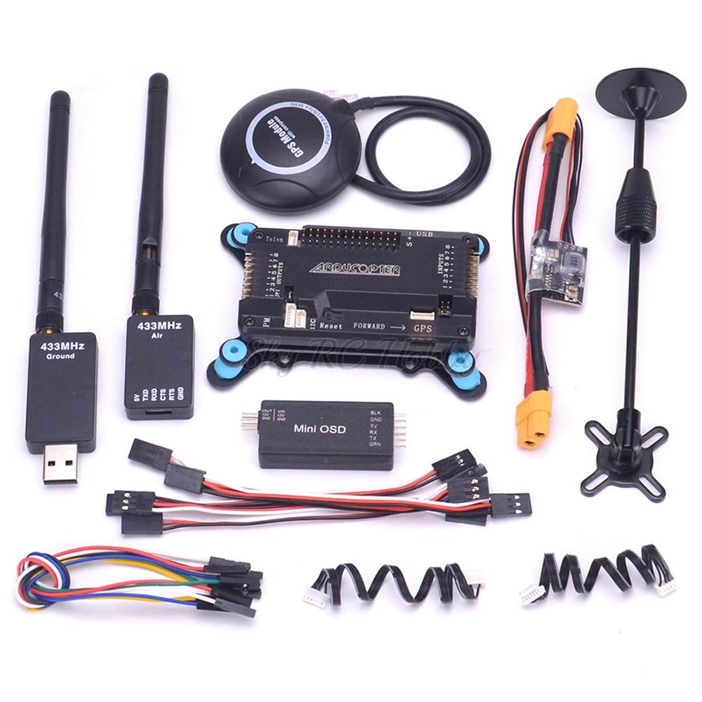 APM2.8 APM 2,8 Placa de control de vuelo w/amortiguador M8N GPS con brújula módulo de potencia Mini MÓDULO DE OSD/433/915 de telemetría