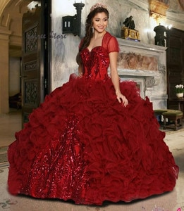 Classy Red Quinceanera Dresses With Jackets Organza Ruffles Tiered Ball Gown Prom Dress 2020 With Appliques Sequin Sweet 16 Gown