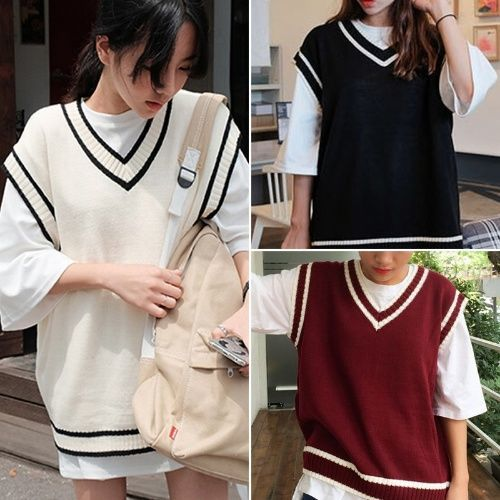 Preppy Sweater Vest Autumn Women V Neck Sleeveless Striped Patchwork Knitted Korean Oversize Female Pullovers Waistcoats Tops