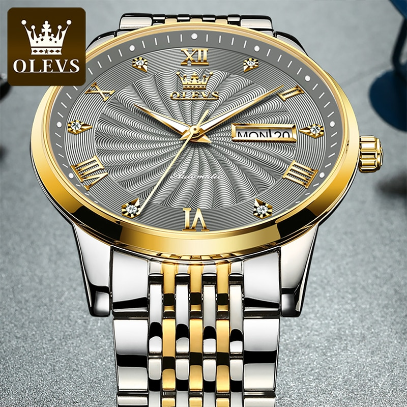 OLEVS 2021 New Business Men's Automatic Mechanical Watch Luminous Diamond 30M Waterproof Stainless Steel Strap Watches 6630 enlarge