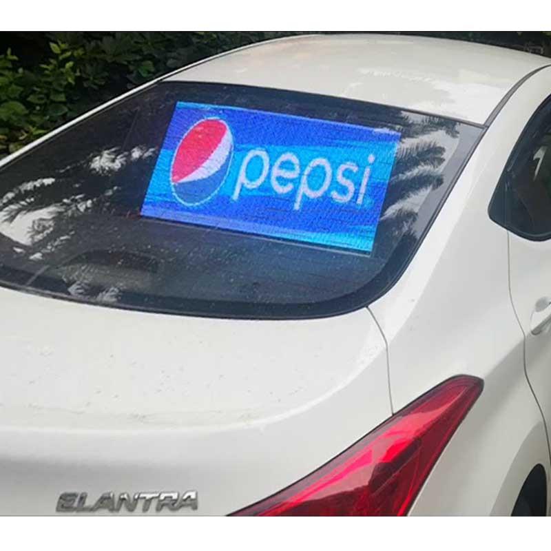 نافذة السيارة الخلفية الزجاج شاشة إضاءة ليد شفافة للإعلان