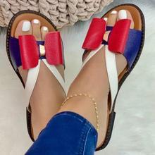 Zapatillas de verano para Mujer, sandalias informales con nudo de mariposa, zapatos planos sin cordones, 2021
