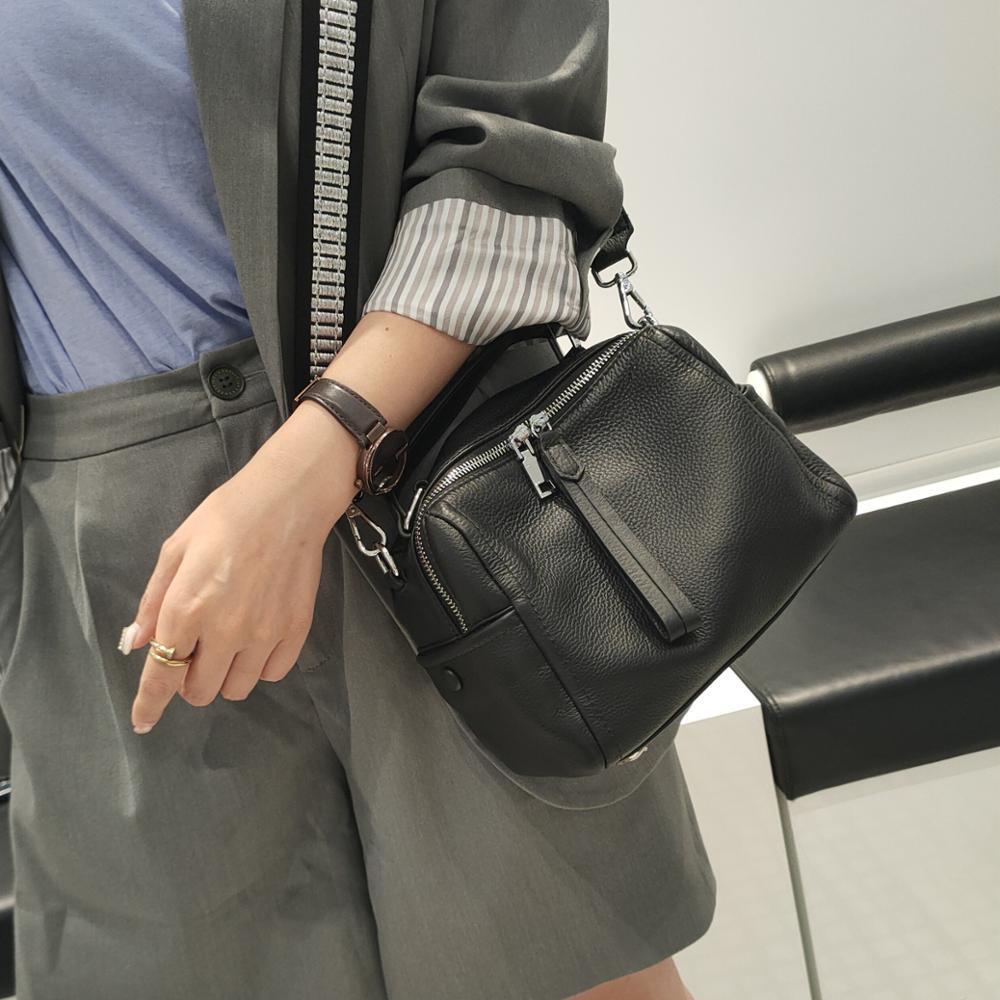 New 2020 Soft Cow Genuine Leather Women Handbag Fashion Female Shoulder Bag Small Simple Casual Totes Women Crossbody Bags