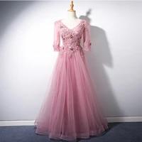 new fashion robe de soiree a line pink beads evening dresses long dress formal dress vestido de festa long sleeve evening dress