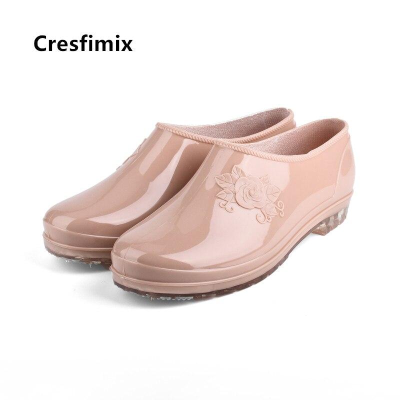 Zapatos planos de mujer con bonitos estampados florales de Cresfimix, zapatos planos impermeables cortos para primavera y verano, zapatos planos femeninos a5726
