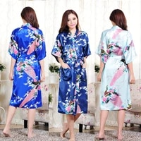 floral robe silk robe satin robe fabric smooth and breathable sexy fashion printed mid length wedding bridal pajamas