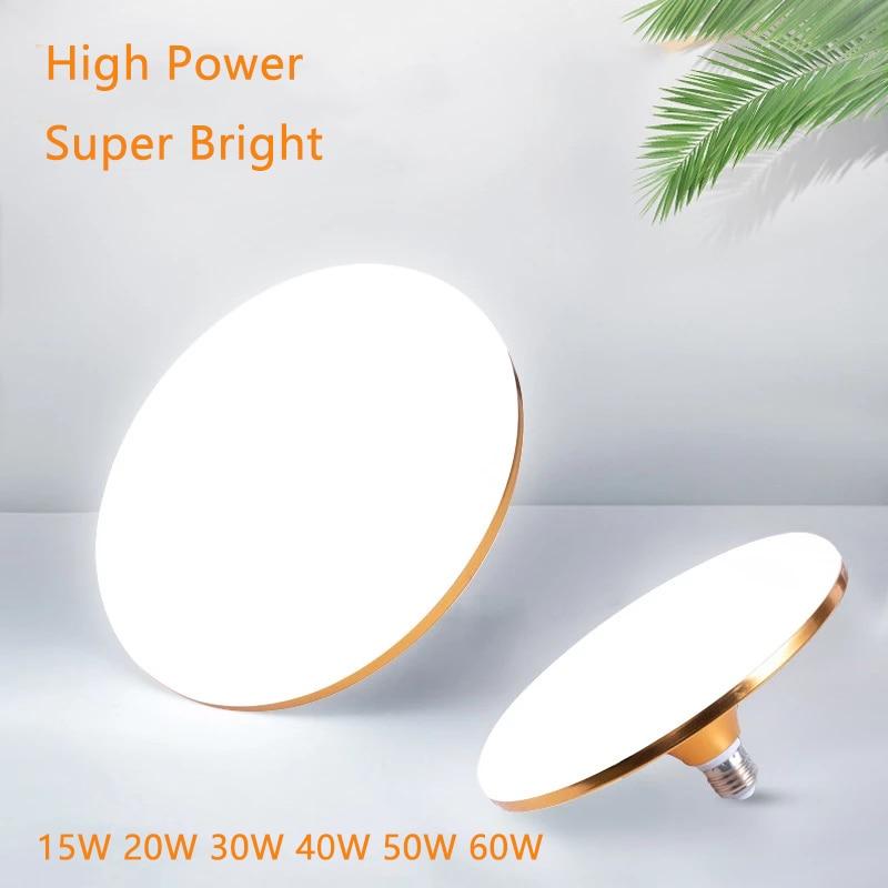 E27 светодиодный лампы 220V Светодиодный светильник Светильник лампы 15 Вт, 20 Вт, 30 Вт, 40 Вт, 50 Вт, 60 Вт УФО Точечный светильник s Bombillas ампулы свето...