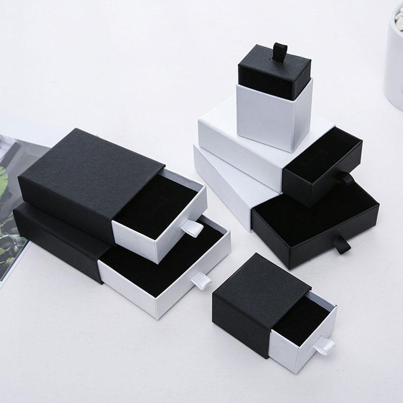 Шкатулка для ювелирных украшений, черно-белый ящик для колец, сережек, ожерелий, браслетов, коробки для хранения подарков для упаковки ювели...