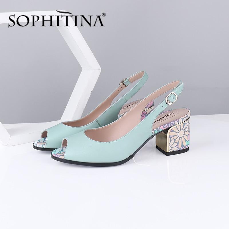 Sophitina moda feminina sandálias peep toe slingbacks flor impressão de alta qualidade pele carneiro volta cinta sapatos elegantes sandálias c587