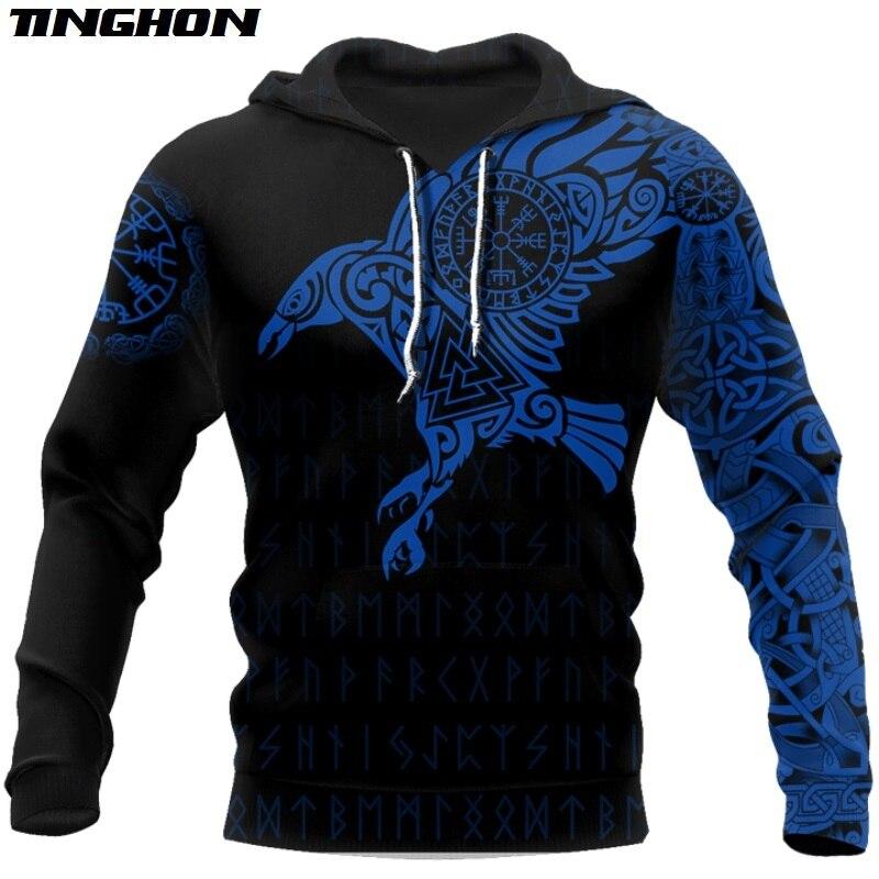 Vikingo-El cuervo de Odin tatuaje 3D impreso hombres hoodies Harajuku moda con capucha sudadera Unisex sudadera hombre 02