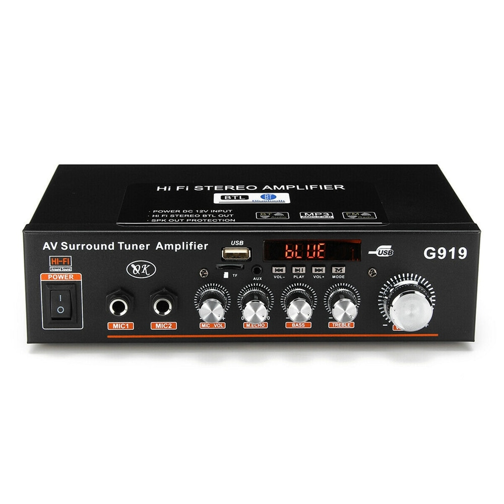 Mini Amplificador de 12V/220V G919 para hogar, Audio estéreo bluetooth, Amplificador de potencia FM, SD, HIFI, 2CH AMP, reproductor de Audio