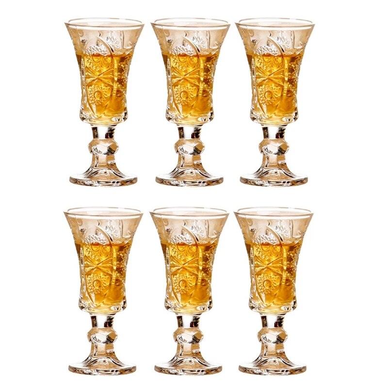 6 قطعة الإبداعية محفورة كاسات صغيرة خالية من الرصاص كأس للنبيذ فناجين زجاج صغيرة ل ليكيور تيكيلا شريط المنزل حفلة درينكوير هدايا 40 مللي
