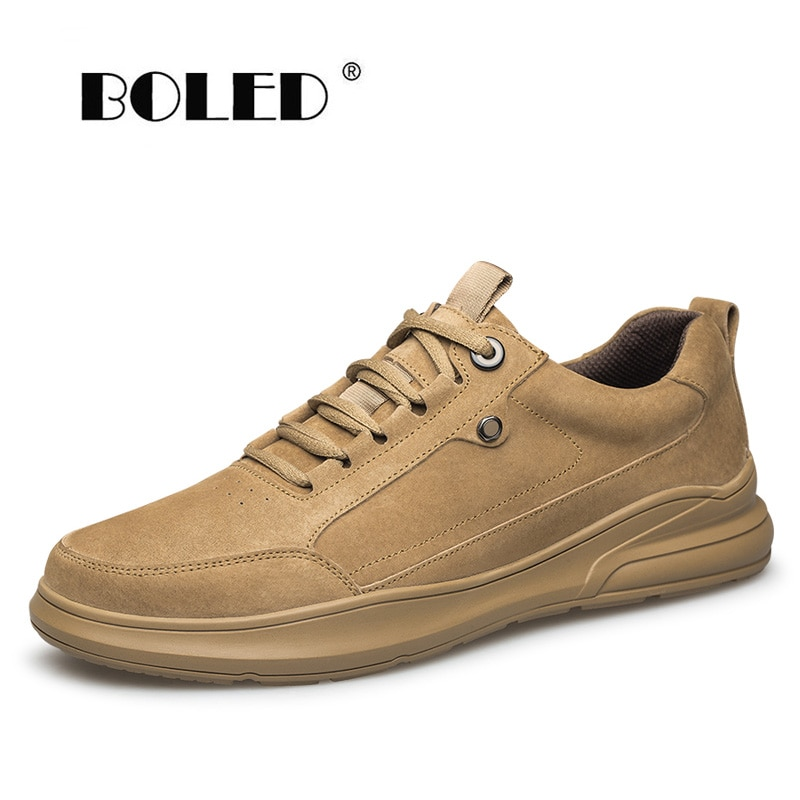 Comfort Genuine Leather Shoes Men Vintage Style Casual Flat Quality Lace-Up Non-slip Walking