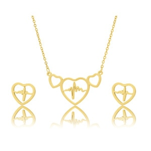 Stainless Steel Three Connect Open Hearts ECG Heartbeat Cardiogram Pendant Chain Necklace Sets Choker For Women Nurse Jewelry