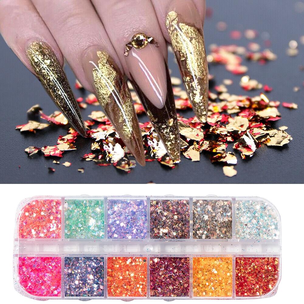 12 rejilla paleta de lentejuelas para uñas aluminio escamas irregulares oro plata pigmento Nail Art decoración espejo lámina brillante papel