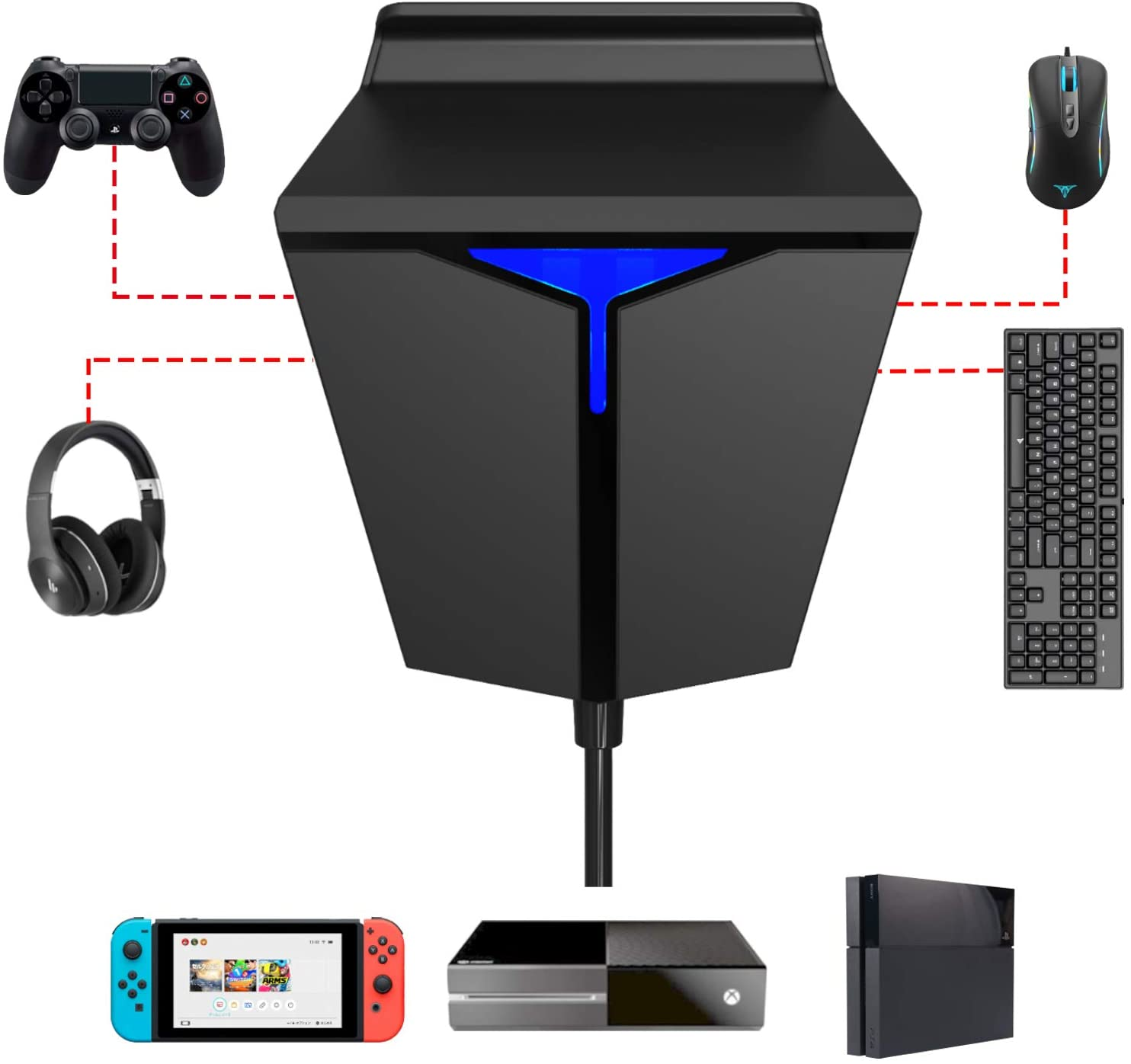IFYOO-محول لوحة المفاتيح والماوس ، لجهاز PS4/XBOX ONE/Nintendo Switch ، وحدة التحكم ، متوافق مع الدردشة الصوتية لـ Fortnitee/PUBG/Call of duty