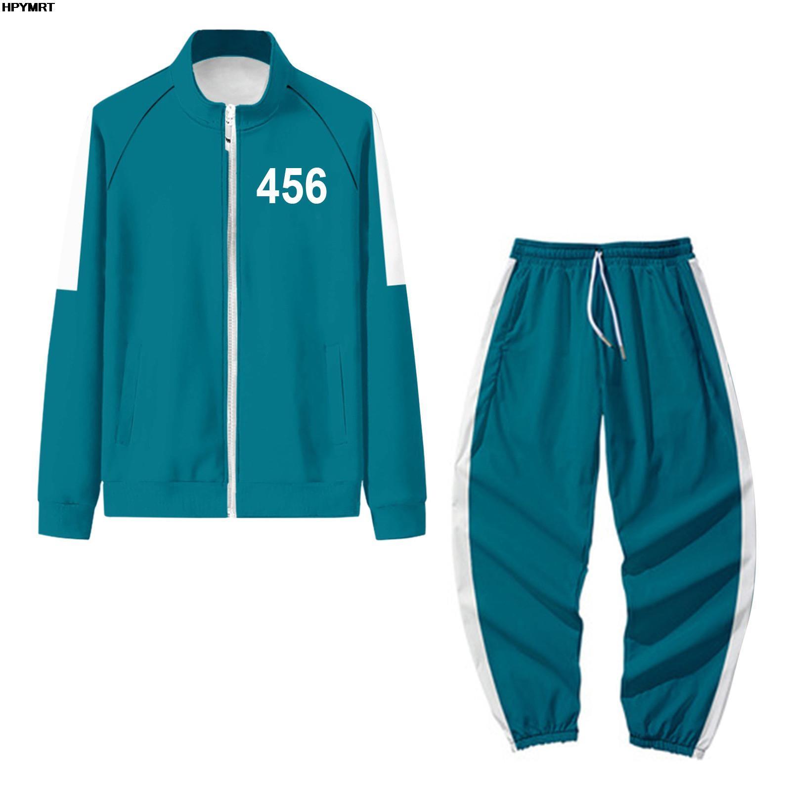 Juego de calamar coreano para otoño, conjunto de ropa deportiva, chaqueta y pantalones, suéter Digital 001, traje de Drama coreano para Halloween, 456