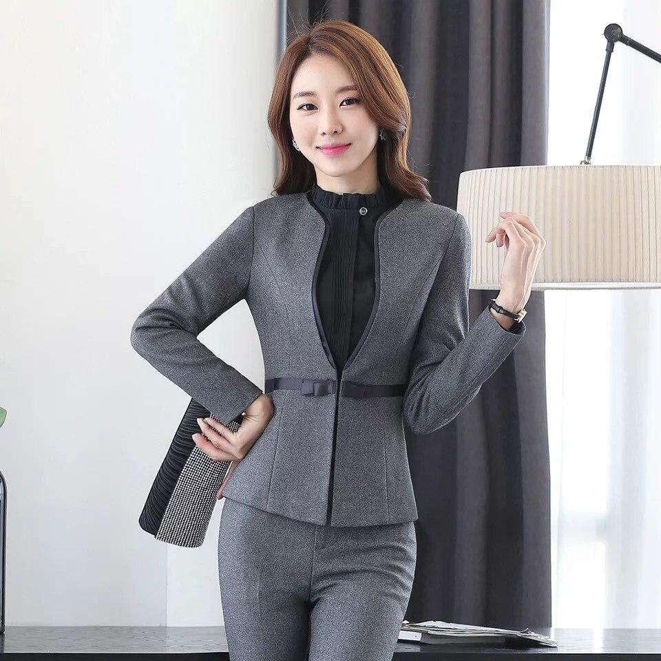 عالية الجودة زائد حجم المرأة S-4XL جديد المهنية المرأة السراويل 2-قطعة مجموعة الخريف طويلة الأكمام السيدات دعوى وزرة