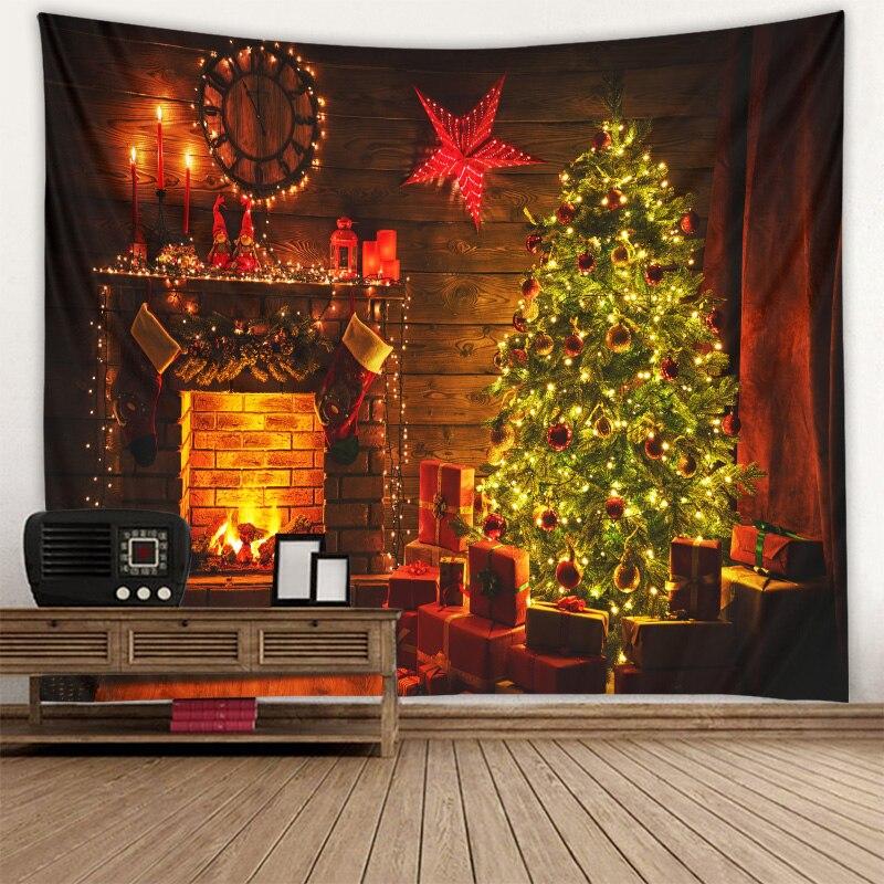 Cheminée arbre de noël tapisserie noël jour tissu suspendu scène décoration tissu suspendu tissu mural plusieurs tailles