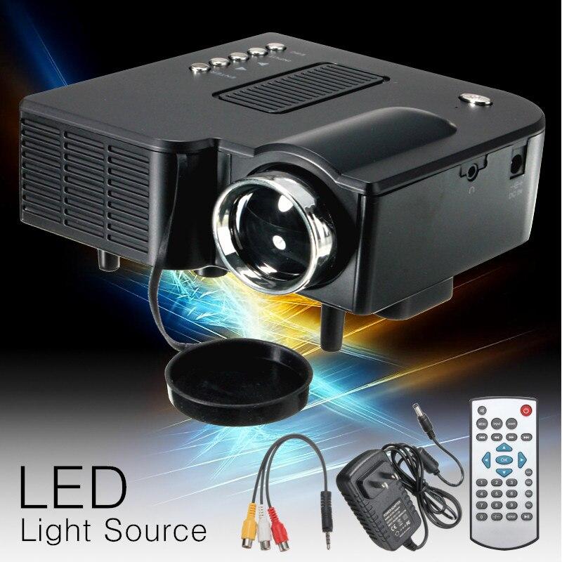 El Centro de UC28 + LED Mini proyector portátil Full HD 1080P proyector proyectores de cine en casa de Audio reproductor de medios, VGA/USB/SD/AV de entrada