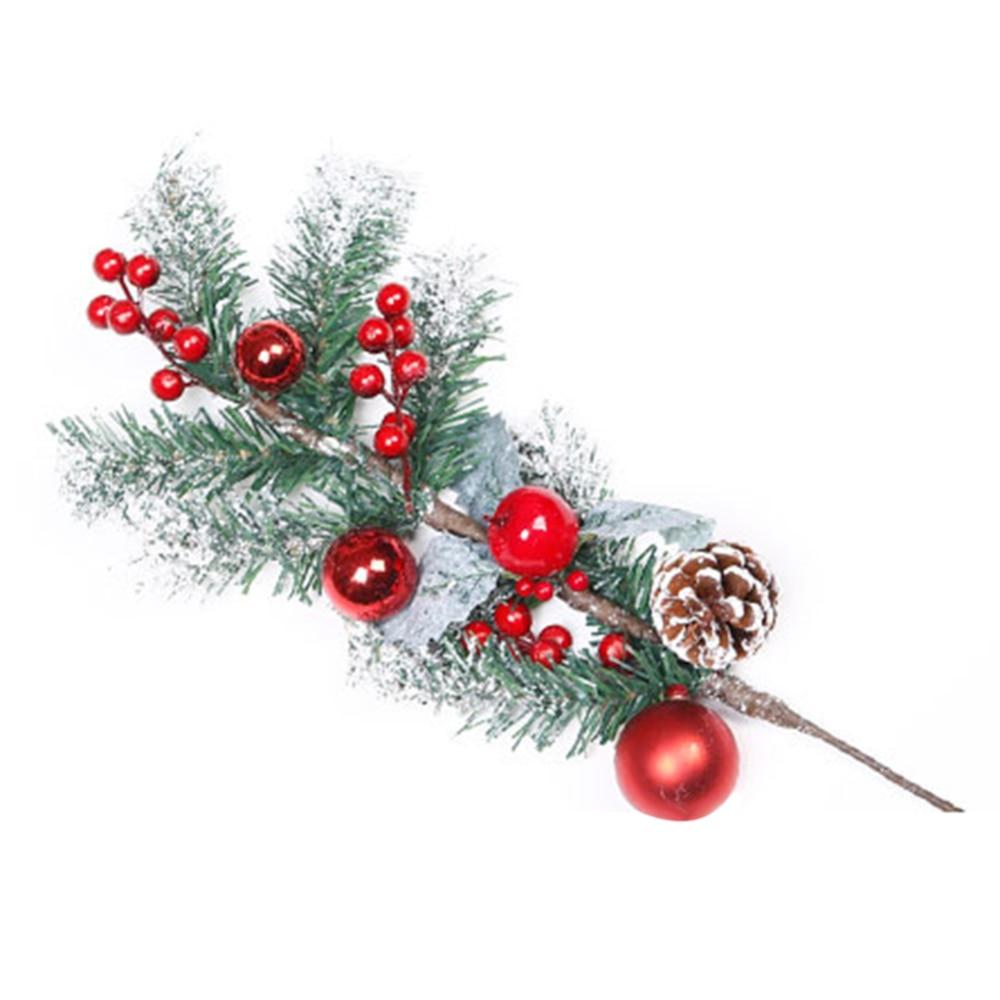 1 pieza de palillos de pino artificiales, tallos de bayas rojas para el hogar, decoraciones de árbol de Navidad, adornos festivos para fiestas y salas