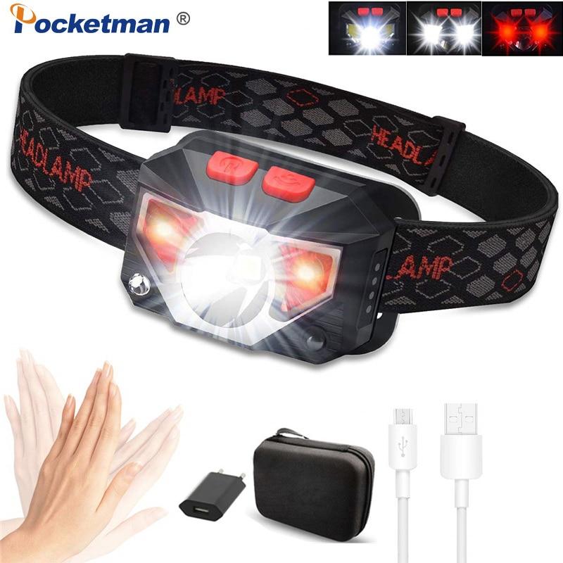 Mini potente faro LED T6 + COB LED recargable Sensor de movimiento del cuerpo linterna cabeza luz antorcha lámpara con USB Camping fish