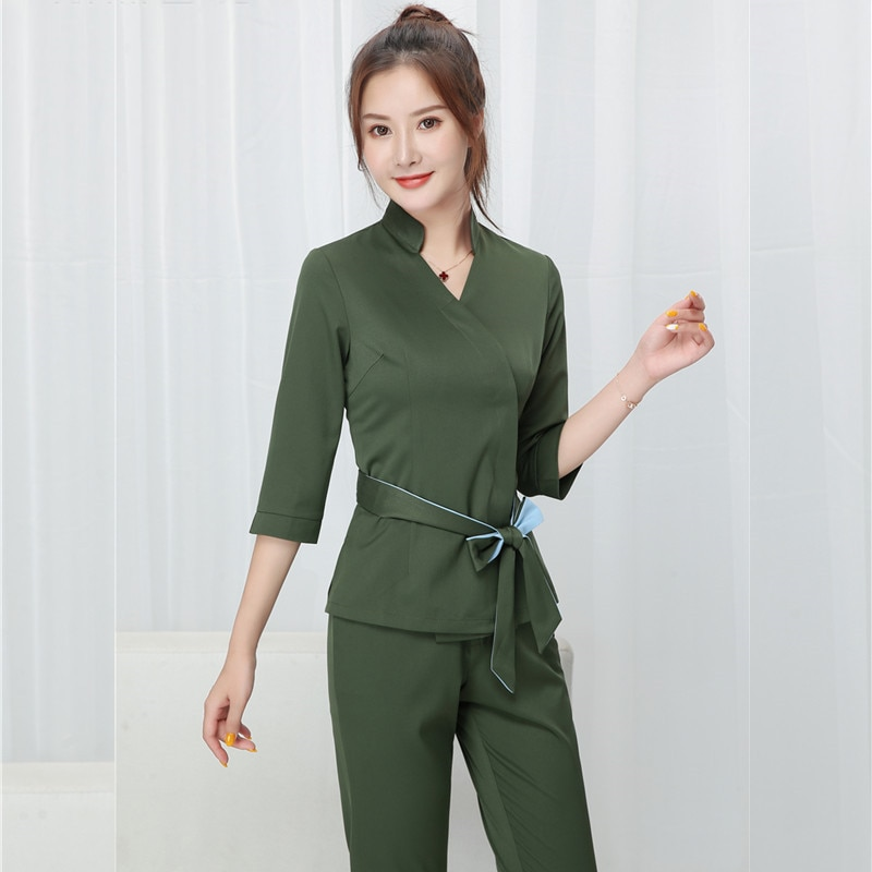 Women Beauty salon work clothing hotel waiter work clothes SPA Uniform autumn Seven-quarter sleeve s
