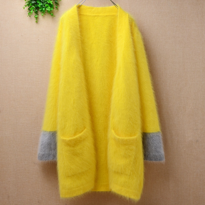 Blusas de moda para mujer, cárdigan holgado de Cachemira de visón peludo amarillo claro de angora, Chaqueta de punto de lana de conejo, abrigo